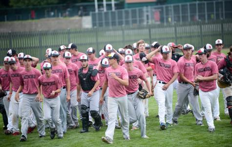 The Benet Boys Baseball Team walks off the field after a great win to start the season.