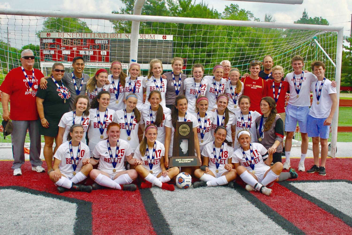 State Champions! First Row (l to r): Kate Flynn, Mary Kate Wilhelm, Nicole Burns, Cami Picha, Mary Kate Hansen; Middle Row: Mia Tommasone, Mia Ullmer, Jaimee Cibulka, Dani Pullen, Brooke Pullen, Gracie Chalkey, Sarah Bozych, Mae Tully, Eva Frantzen; Back Row: Assistant Coach Henry Wind, Assistant Coach Kim Sayers, Head Coach Gerard Oconer, Kayla Brannigan, Abby Casmere, Paige Neri, Karina Krammer, Ava Rogers, Maggie Roche, Emily Mikitka, Assistant Coach Bob Gros, Katie Lewellyan, Manager Chandler Hart, Assistant Coach Martin Uscila, Manager Patrick Michalik, Manager Jason Byrne, Manager CJ Warren