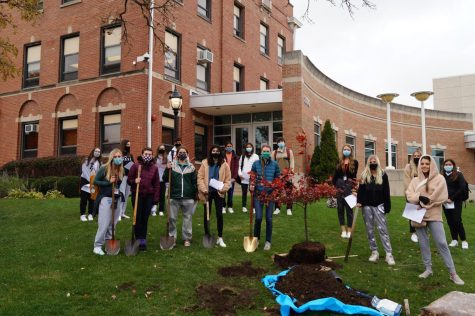 The Environmental Club pictured with the newly-planted Hill's Oak Tree outside of St. Daniel's Hall.